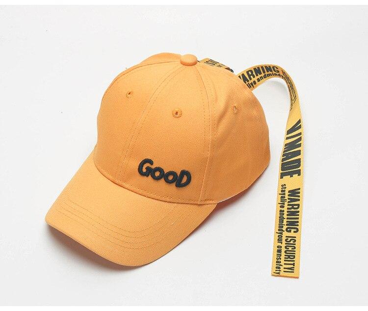 Casual cotton ribbon baseball cap for kids adjustable hip hop caps adjustable cotton twill baseball cap w velcro closure