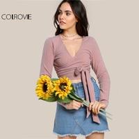 COLROVIE Rib Knit Wrap Crop T Shirts Women Sexy V Neck Slim Summer Tops 2017 Fashion