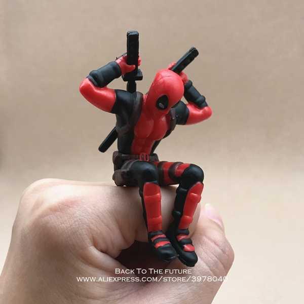 Disney Marvel X-men Deadpool 2 Action Figure Postur Duduk Model Anime Mini Doll Dekorasi PVC Koleksi Figurine Mainan model