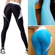 New Women Geometric Stitching Peach Hips Push Up Sports Yoga Pants Female Sexy Running Gym Tights Lady Leggings With Pocket