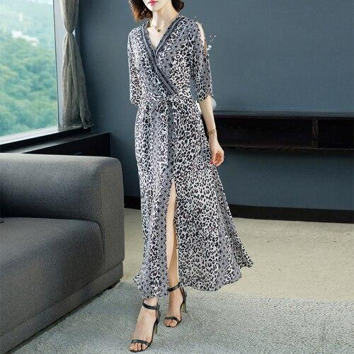 Été 2019 français longues robes léopard en mousseline de soie élégant cheville longueur Patchwork dentelle Vintage col en v hors épaule robe femme