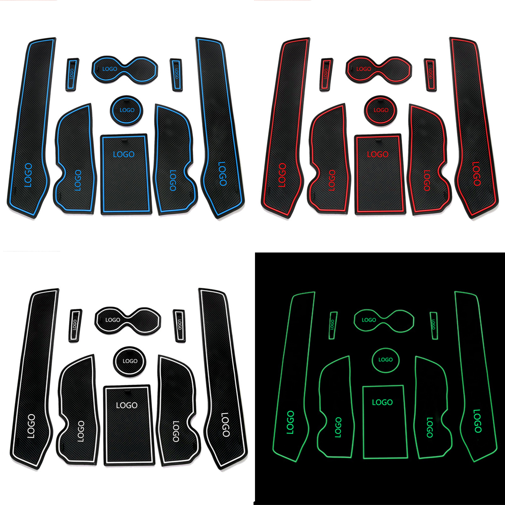 Anti-slip Non-slip Rubber Decorator Cup Sticker Gate Slot Pad Door Groove Mat For Renault Koleos clio 2014 Car Accessories 9Pcs