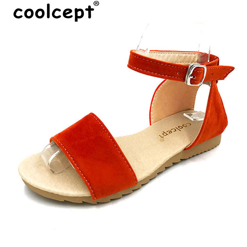 Coolcept Size 34-43 Women Flats Sandals suede leather Shoes Women Flat Sandal Ladies Leisure Sexy Beach Shoes Footwear PA00231 women flat sandals fashion ladies pointed toe flats shoes womens high quality ankle strap shoes leisure shoes size 34 43 pa00290