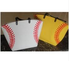 sample Softball yellow baseball white stitching bags baseball women Cotton Canvas Sports Bags Baseball Softball Tote Bag