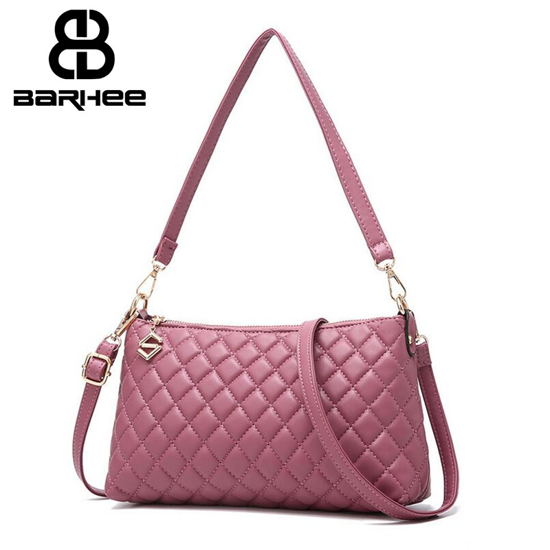BARHEE Ladies Portable Shoulder Bag Small Hand Bag Women Plaid Messenger Bag PU Leather Long and Short Strap Pouch Purse Daily