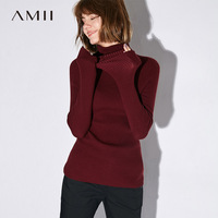 Amii Casual Women Sweater 2017 Turtleneck Long Sleeve Solid Female Pullovers Sweaters