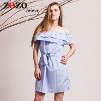 Falacs Zozo Summer Women Casual Sexy Fashion Dresses Straight Striped Ruffles Mini Butterfly Sleeve Slash Neck