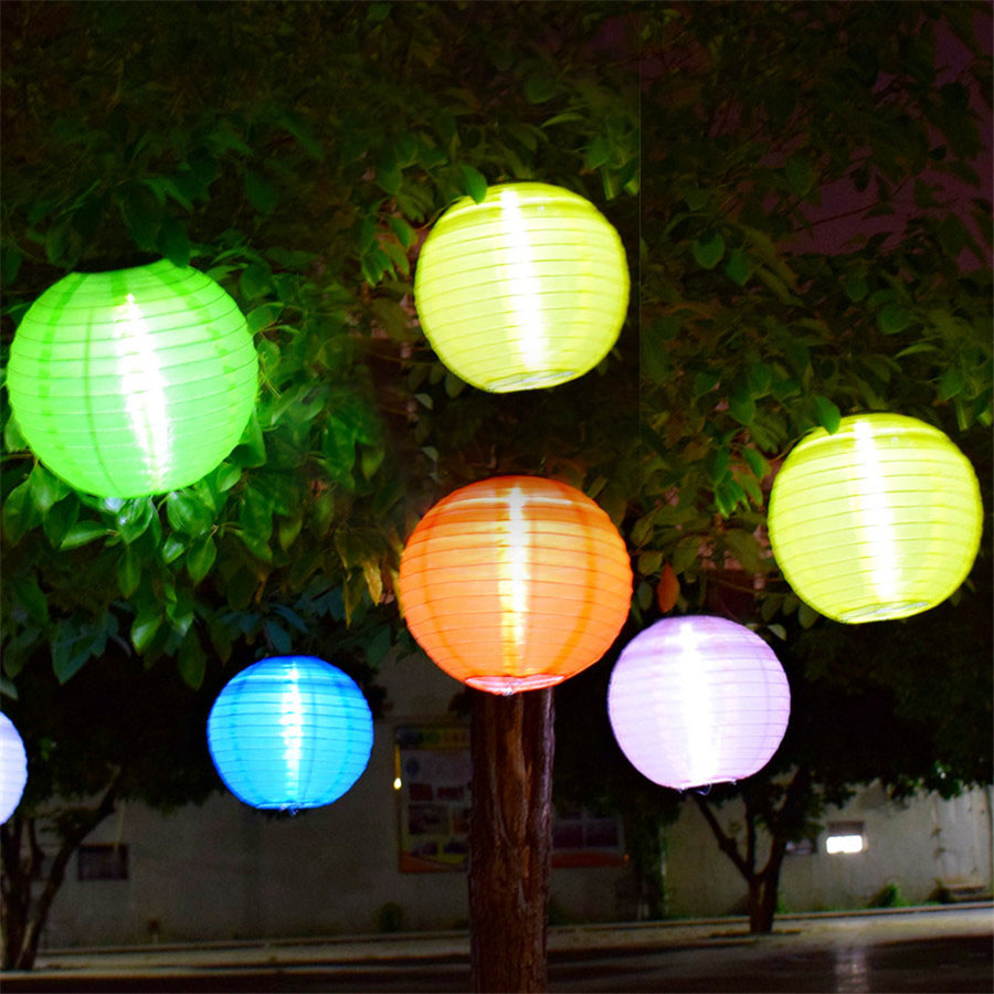 thrisdar 5pcs d30cm big lantern ball outdoor solar hanging lamps garden globe ball hanging patio yard pathway solar light