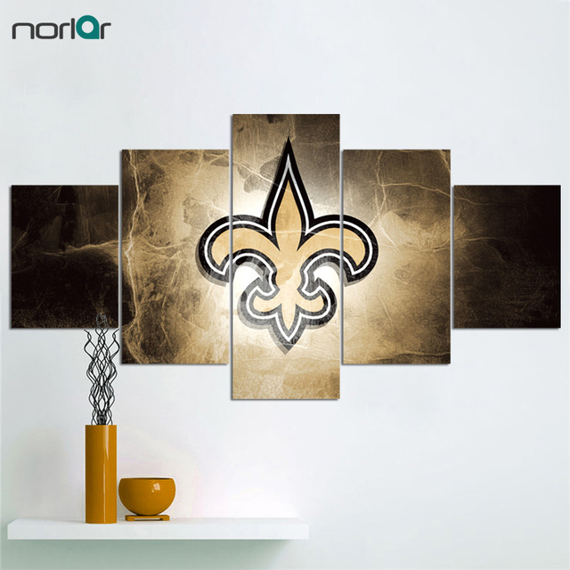 5 Pieces Prints New Orleans Saints Fans Hot Canvas Painting Wall Art Home Decor Picture Panels