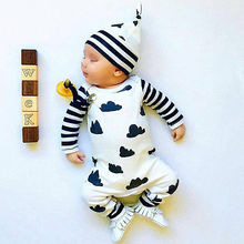 Newborn Baby Girl Striped Romper Cute Infant Jumpsuit Outfits Cartoon Clouds Baby Boy Clothes