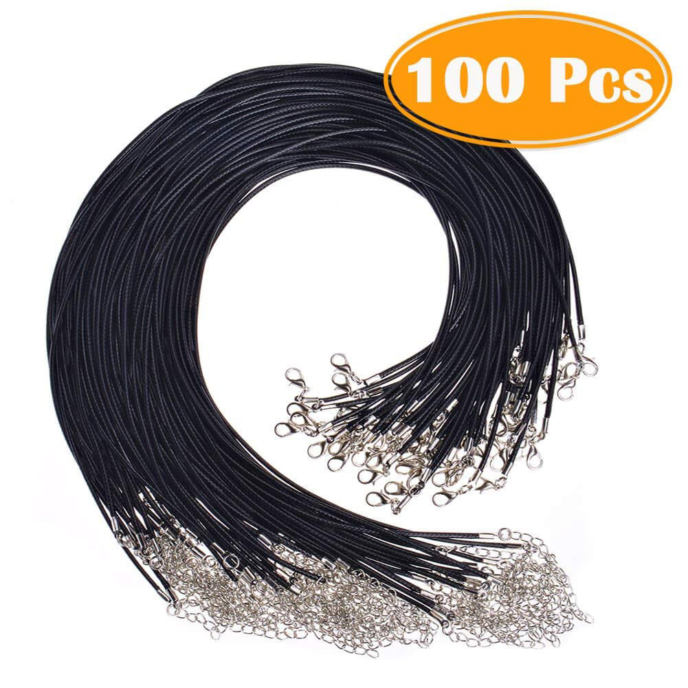 100 Pcs 2.0mm Black Waxed Necklace Cord Bulk With Clasp For Jewelry Making BM88