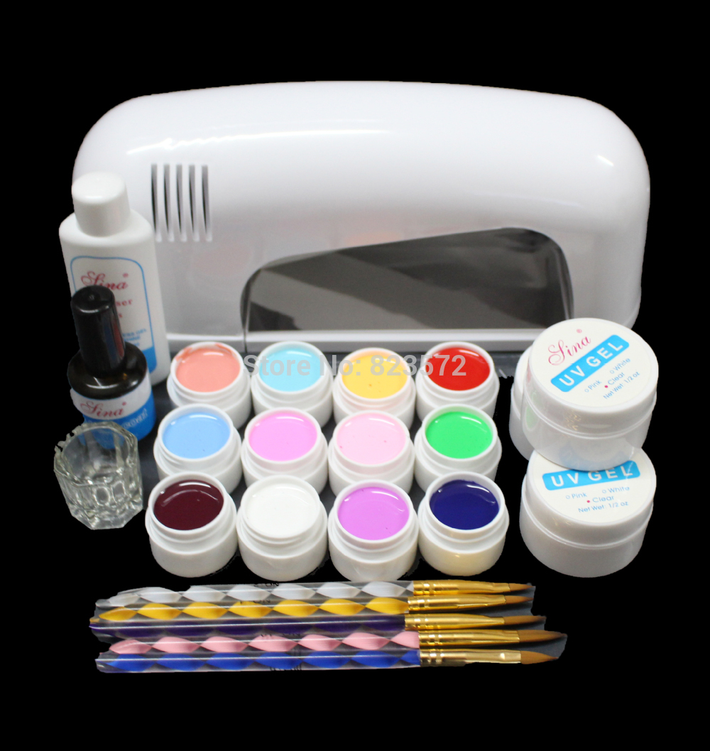 UC-120 High quality PRO FULL Nail Art Set 9W UV GEL White Lamp 12 Color Pure UV GEL Brush