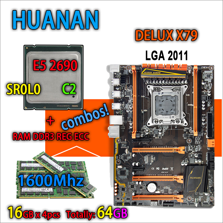 HUANAN golden Deluxe version X79 gaming motherboard LGA 2011 ATX combos E5 2690 C2 SR0L0 4 x 16G 1600MHz 64gb DDR3 RECC Memory