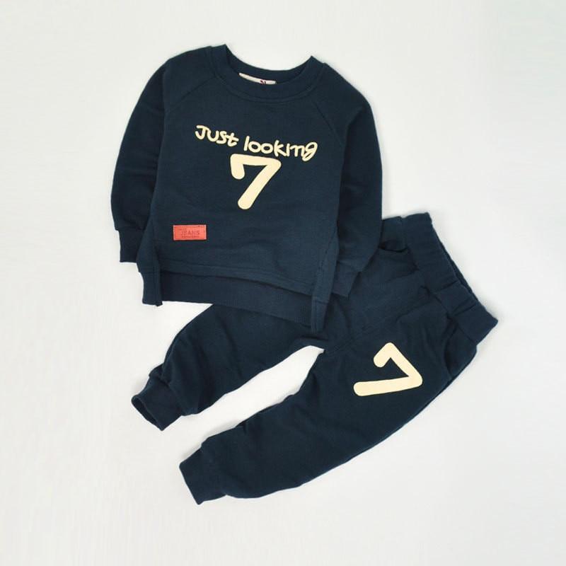 купить Autumn Baby Kids Tracksuit Letter 7 Clothes Coats Pants Sets Just Looking Print Children Sportswear Cloth Kids Tracksuit 4 Color недорого