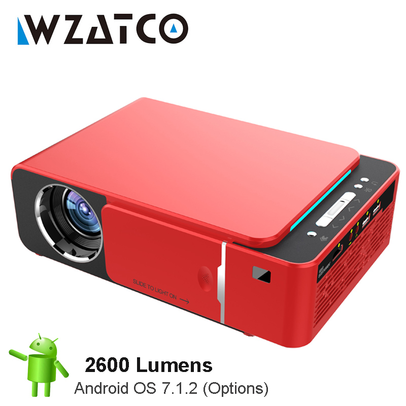 WZATCO 2600 lume proyector LED HD 720 p opcional Android 7,1 WIFI portátil HDMI USB soporte 4 K 1080 casa teatro Proyector Beamer