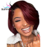 Sunnymay T1B/Burgundy Ombre Color Bob Wigs Pre Plucked Lace Front Human Hair Wigs Straight Lace Front Wig Glueless 99j Ombre Wig