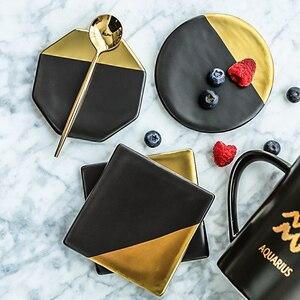 Chapeamento de mármore preto ouro cerâmica coaster placemat copo tapetes almofadas decorações para casa ferramentas de cozinha desktop antiderrapante almofada de luxo