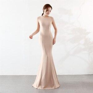 Image 3 - Its Yiiya Mermaid Evening dress Elegant Floor length Solid long Party Gown Zipper back Sleeveless O neck Sexy Prom dresses C096