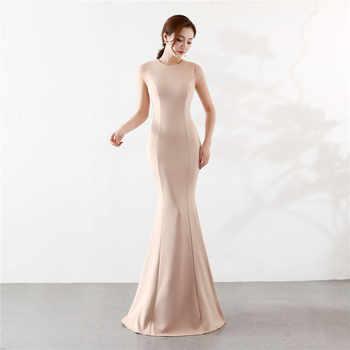 It\'s Yiiya Mermaid Evening dress Elegant Floor-length Solid long Party Gown Zipper back Sleeveless O-neck Sexy Prom dresses C096