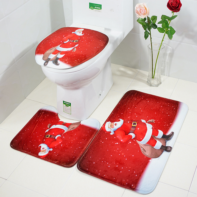 3pcsset Washable Bathroom Christmas Toilet Seat Cover Non-slip Water Absorbent Flannel Rug Santa Claus toilet accessories