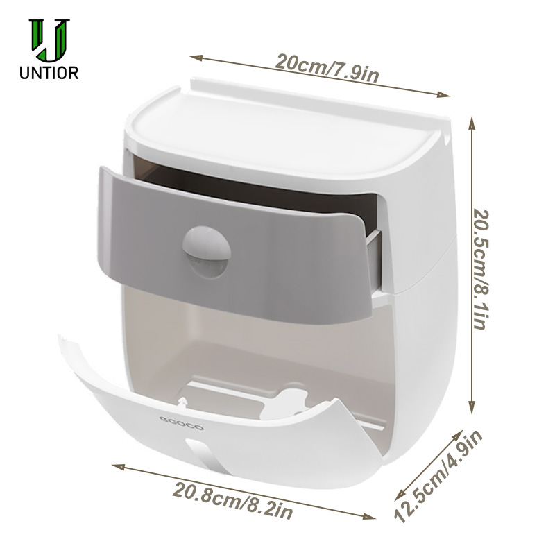 UNTIOR Plastic Toilet Paper Holders Creative Bath Waterproof Tissue Box Wall Mounted Storage Box Double Layer Toilet Tissue Case in Portable Toilet Paper Holders from Home Garden