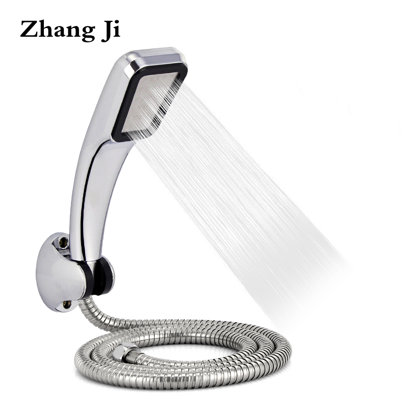 Zhang Ji Bathromm Chrome 300 Holes ABS Shower Head Set With Holder And Hose Rainfall High Pressure Water Saving Showerhead