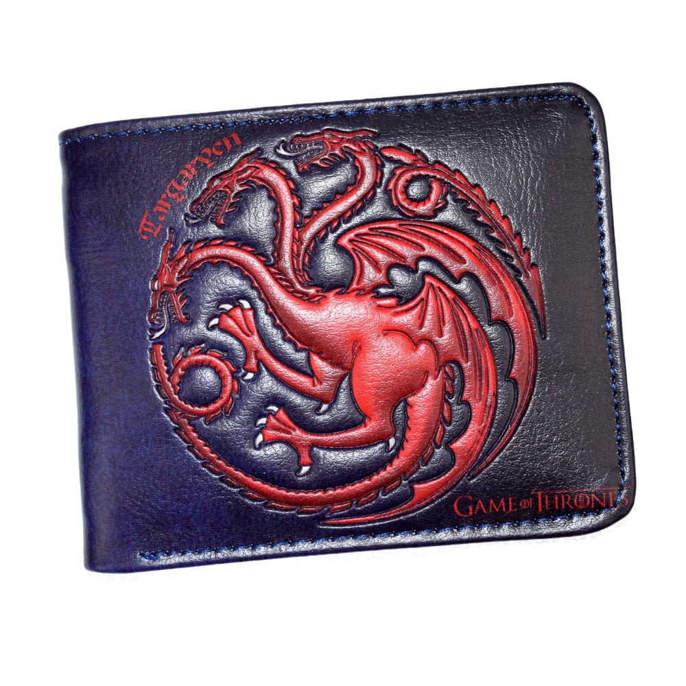 FVIP Leather Wallet The Song Of Ice And Fire Game Of Thrones Daenerys Targaryen Dragon Badge Men''s Short Purse