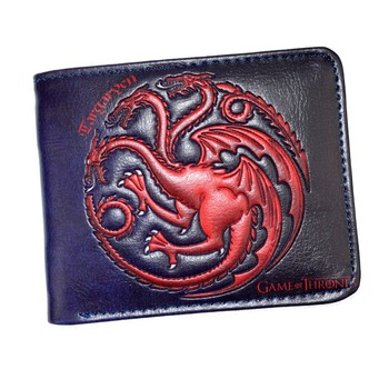 Leather Wallet The Song Of Ice And Fire Game Of Thrones Daenerys Targaryen Dragon Badge Men''s Short Purse
