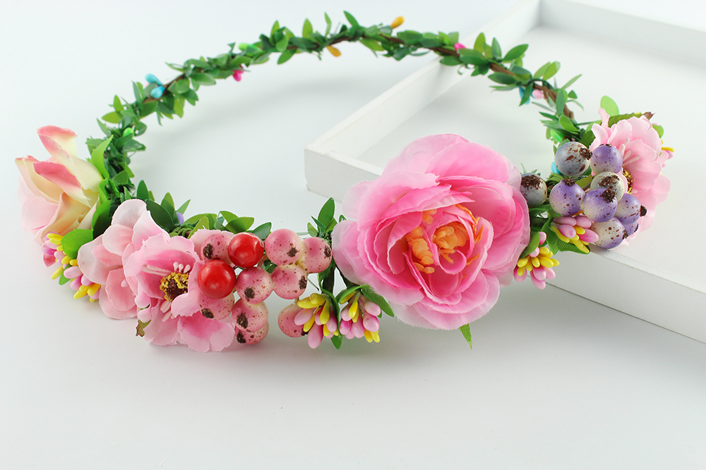 2019 New Style Handmade Rose Color Artificial Flower Women Girl Flower Fairy Wedding Bride Party Hair Headband Crown Prop Garland Honeymoon Durable In Use