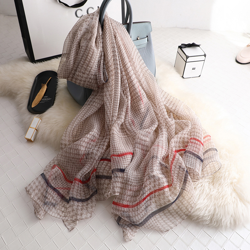 Houndstooth 2019 Spring Summer Women Scarf Print Big Size Shawls And Wraps For Lady Silk Scarves Pashmina Beach Stoles Foulard