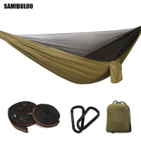 SAMIBULUO Automatic Opening Mosquito Net Hammock Outdoor Mosquito proof Hammock 290*140 with Wind Rope Nails