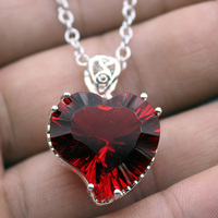 Charms LOVE GIFT Red Fire Heart Garnet Cute Sweet Jewellry 925 Sterling Silver Necklace Pendant For