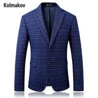 Kolmakov 2017 новые поступления высокого качества Модные Для мужчин костюм пиджак, классический небольшой плед Повседневные Jackt пиджаки пальто Д