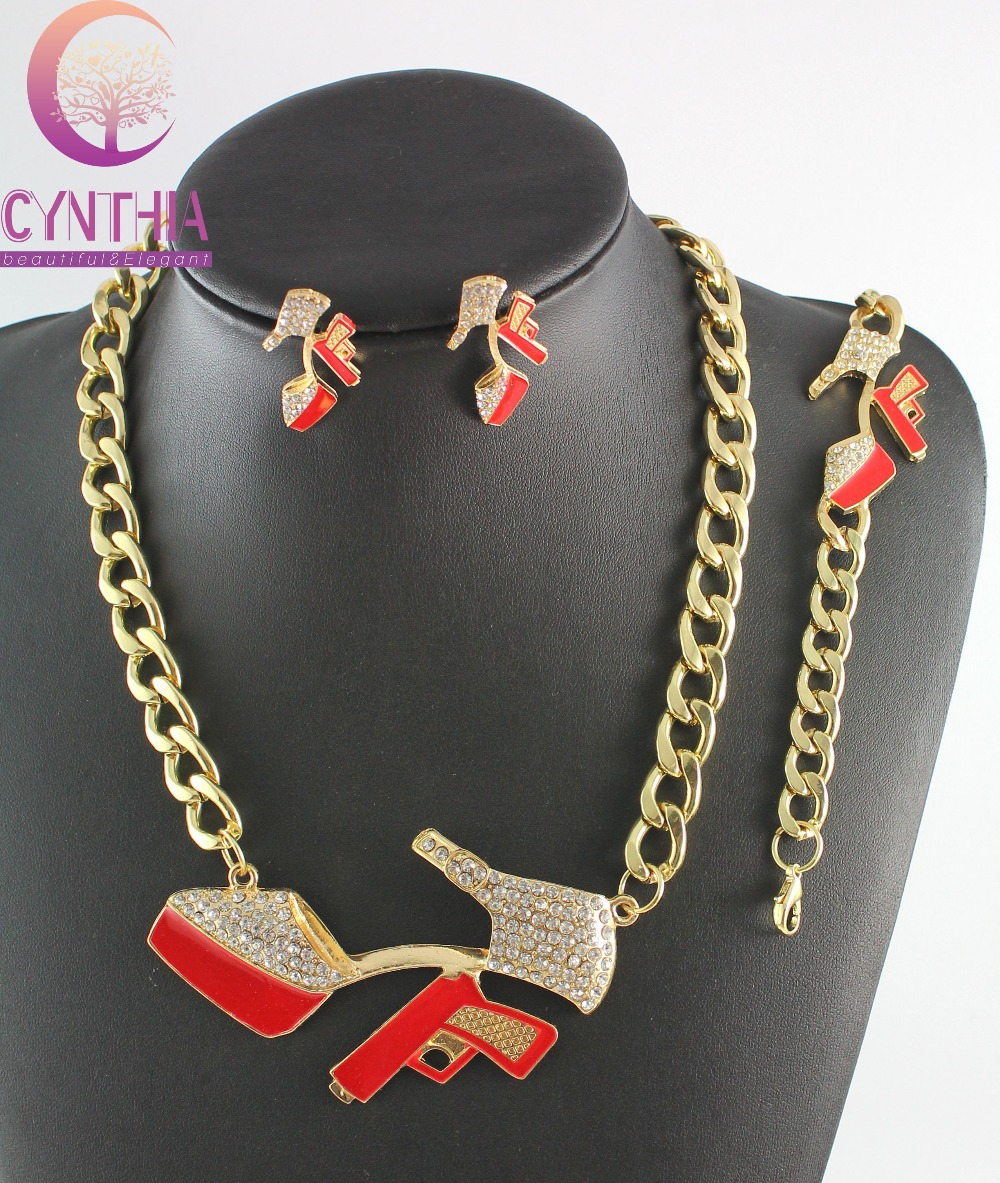Hot Sale Gold Metal Rhinestone High Heels Red Gun Chunky Chain Necklace Bracelet Earring Wedding Women