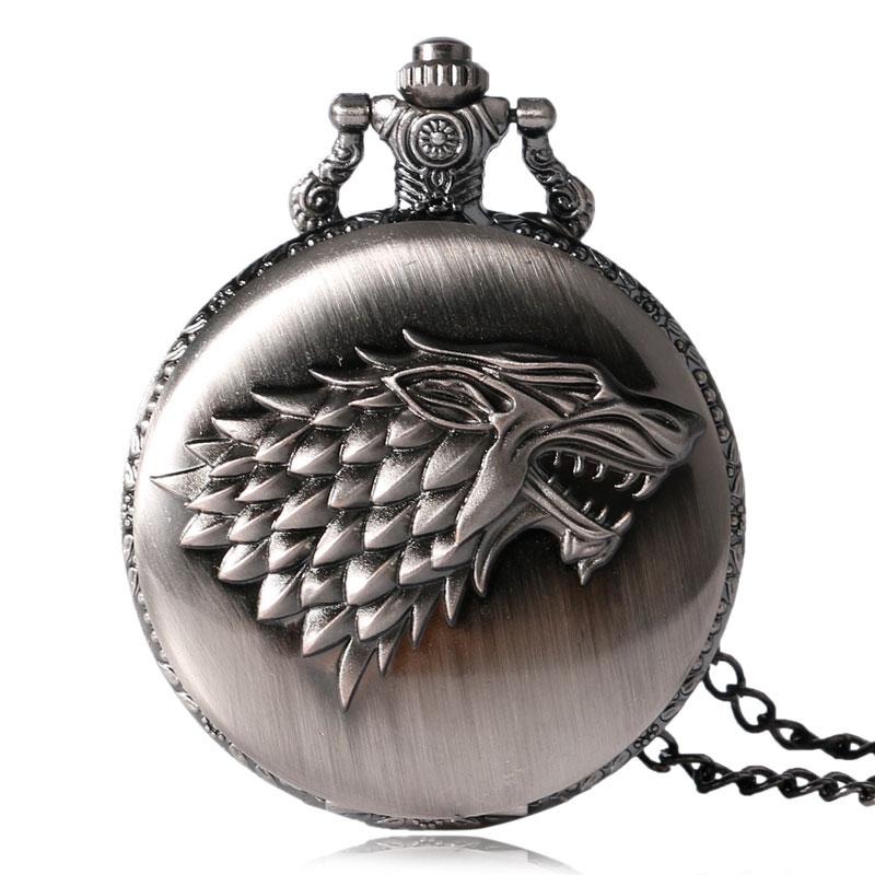 2020 New Quartz Pocket Watch Male Game Of Thrones Crest Winter Women Pendant Watches Vintage Antique Fob Clock Men Fashion Gifts