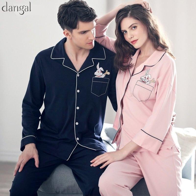 Dangel Couple Pajamas Man Women Pajamas Cotton Winter Autumn Long Sleeves Casual Lapel Couple Pajamas Thick Warm Couple Pajama