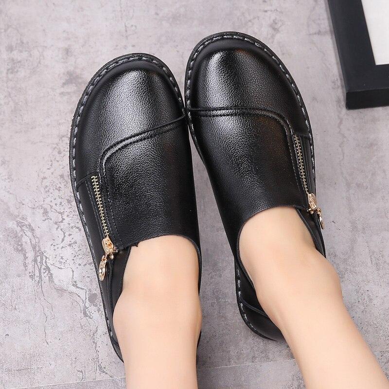 Primavera y otoño nueva moda de cuero de la madre zapatos ocasionales cómodos za