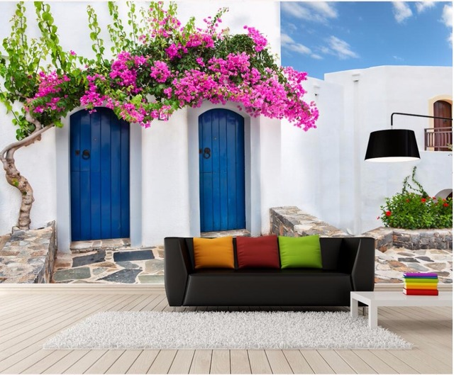 3d wallpaper custom photo mural the seaside building flowers door
