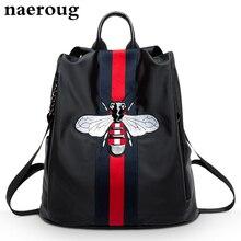 Sac à dos femmes mode 2016 femmes rayé sacs à dos de haute qualité en cuir et oxford sacs d'école abeille broderie designer mochila sac