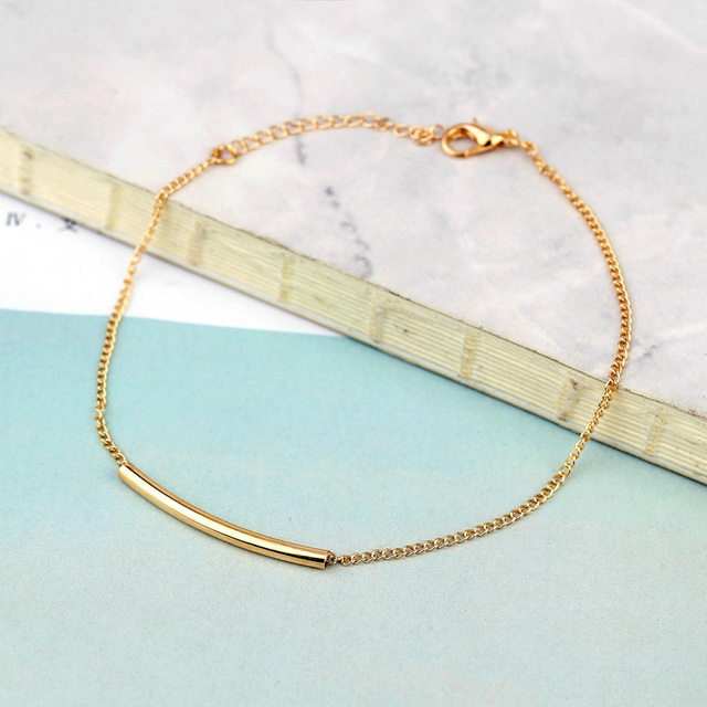 Simple Gold Color Chain Anklets For Women