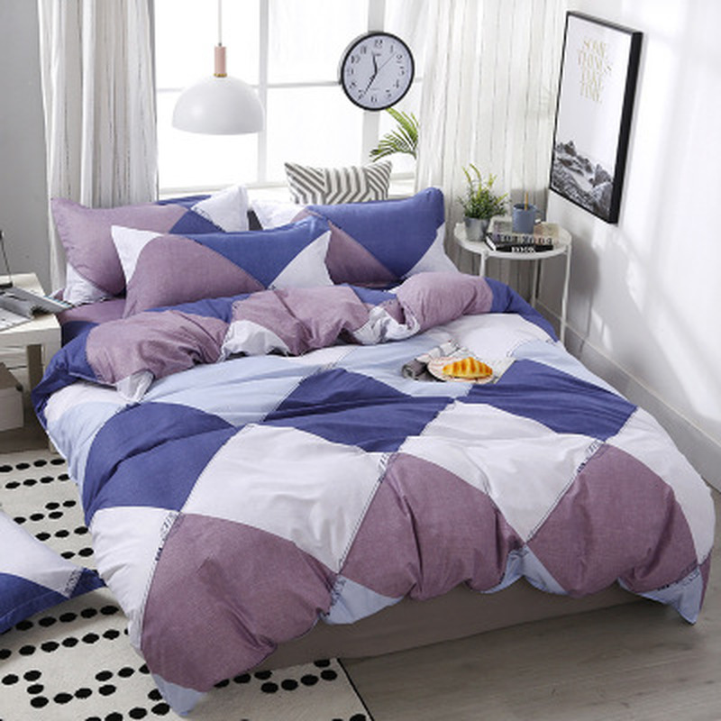 3/4pcs/Set Simple Style Geometric Pattern Comforter Bedding Sets Cotton Duvet Cover Set Bed Linen Home Textile(China)