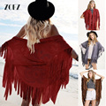 2017Fashion Women Tassel Shawl Wrap Scarf Women Faux Suede Leather Tassel Shawl Fringe Flower Hollow Out Ponchos Capes ZO16UB010