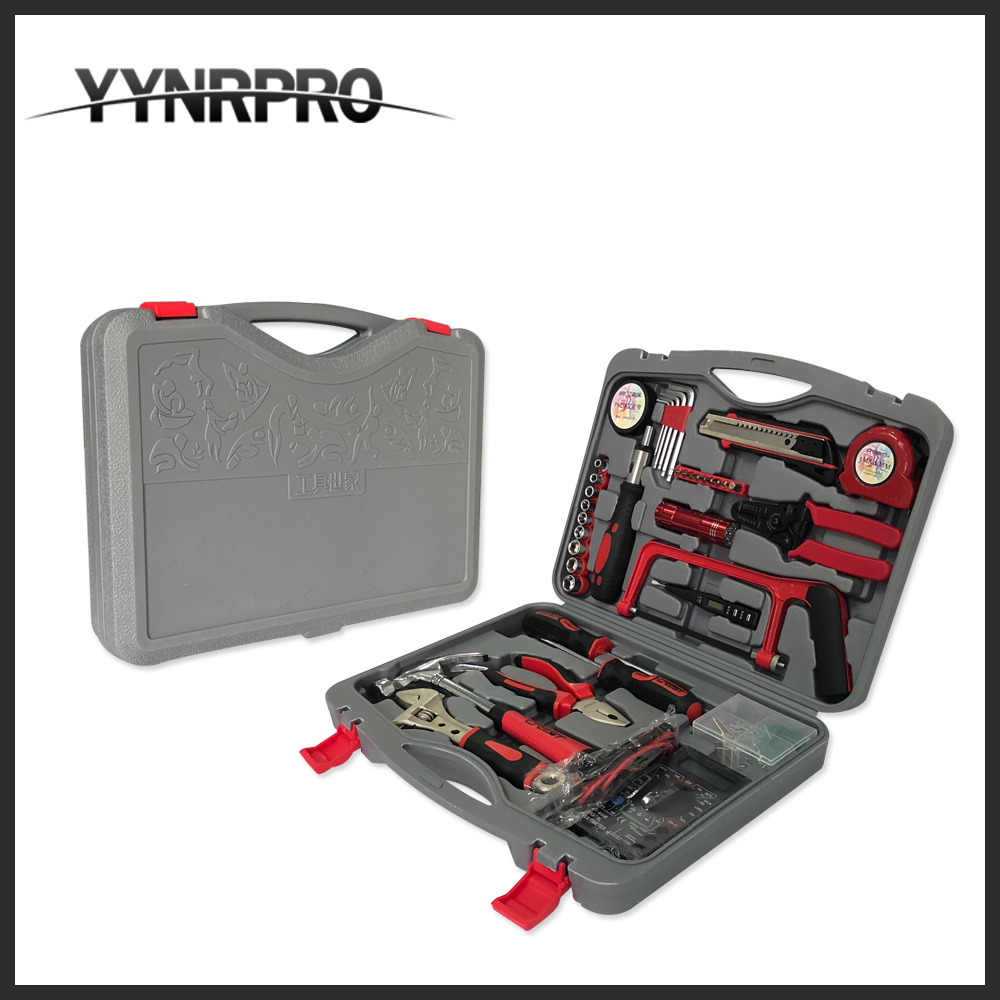 YYNRPRO free shipping 100 pcs hand tool set,Storage Case Socket Wrench with Screwdriver Knife Hammer Pliers 8 32mm 22pieces metric chrome vanadium crv quick release reversible ratchet combination wrench set gear wrench spanner