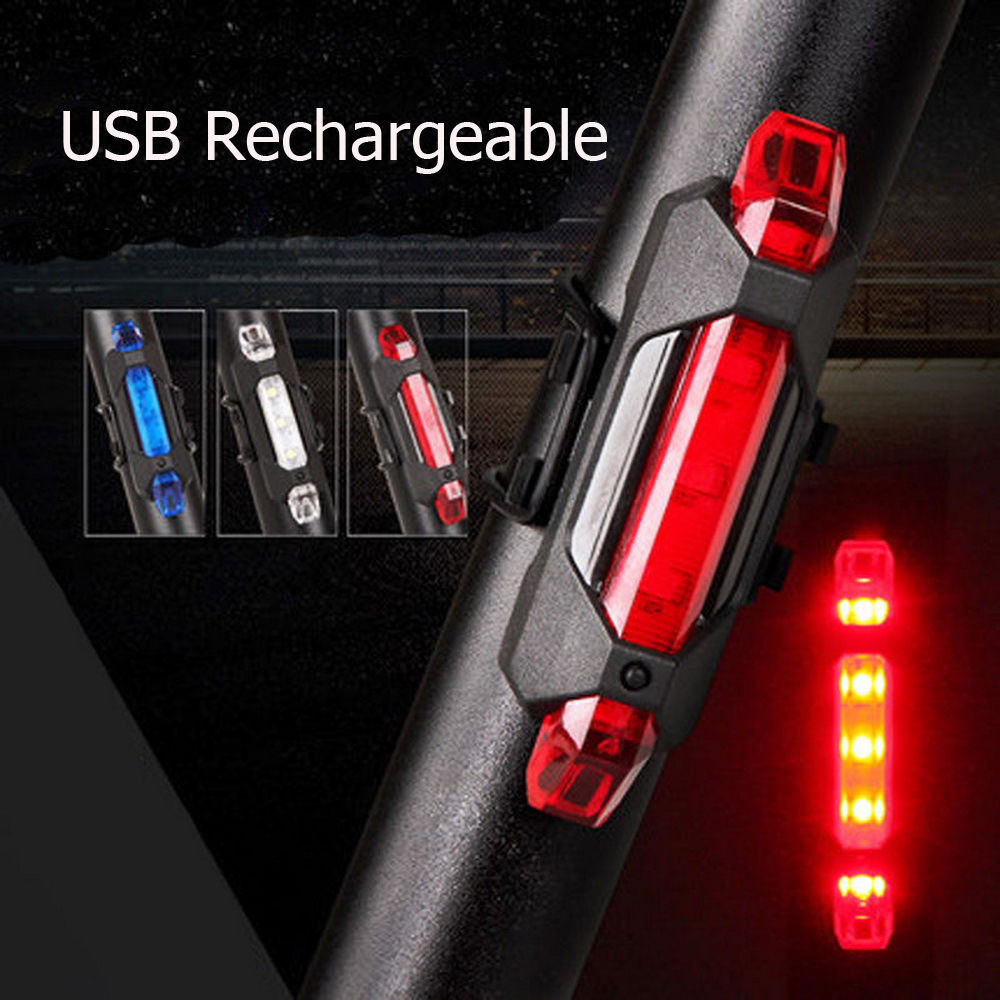 Light-Flashlight Tail-Light Bicycle Warning Safety Waterproof Rechargeable Rear USB Universal title=