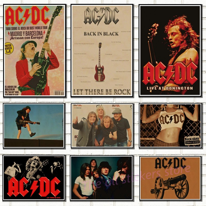 acdc poster .Australian/rock band ACDC/Malcolm/Angus.Kraft Paper VintagePoster Vintage  Wall Sticker/6001-in Wall Stickers from Home & Garden