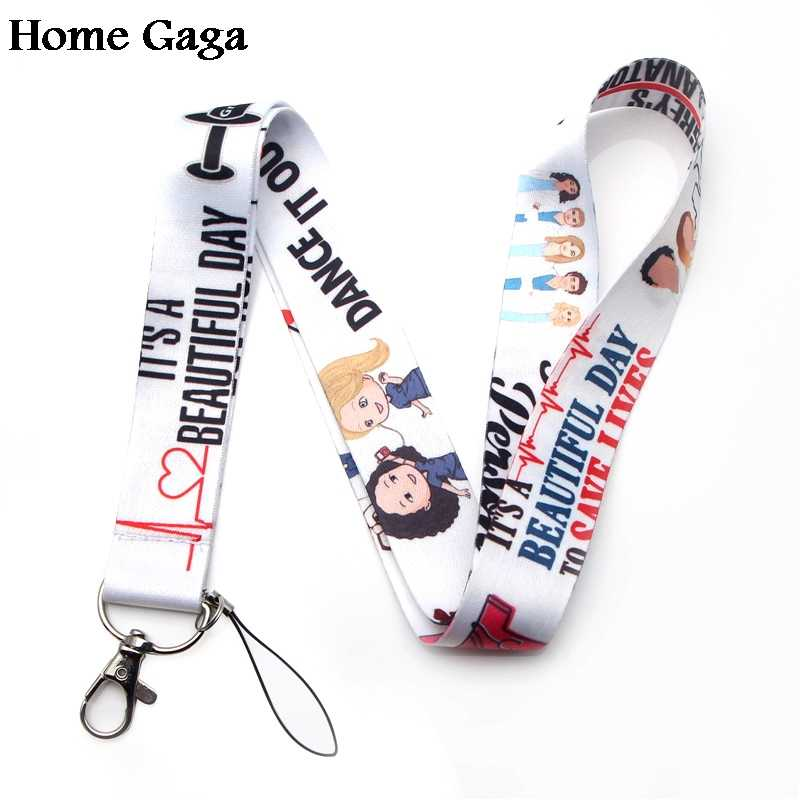 Homegaga Grey's Anatomy keychain id lanyard webbing ribbon neck strap fabric para badge phone holder necklace accessories D1568