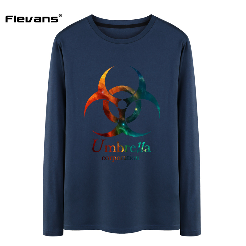 Flevans 2017 Spring Brand O-Neck Loose Long Sleeve T Shirt Mens Movie Resident Evil 6:The Final Chapter Biohazard Logo T-Shirt