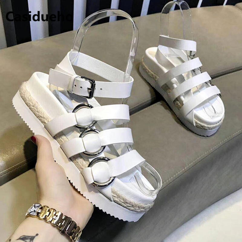 Здесь продается  Casidueho Ankle Strap Shoes Woman Platform Sandalias Mujer 2018 Real Leather Dress Gladiator Sandals Women Botas Buckles Flats   Обувь