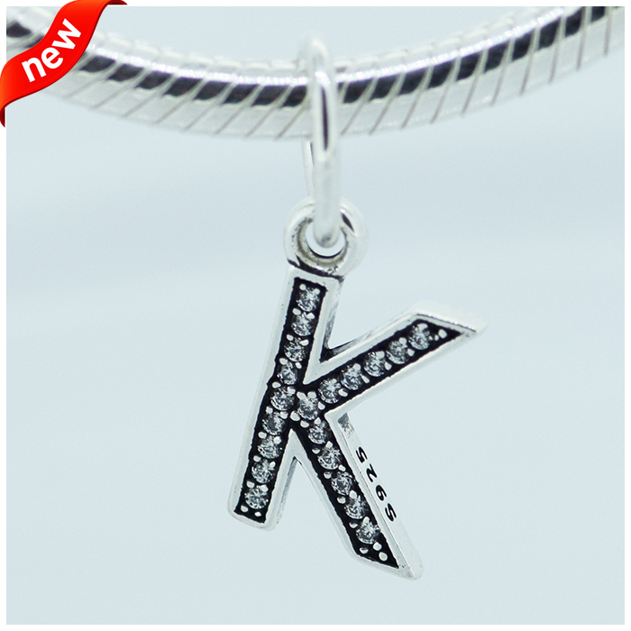 Compatible With Pandora Charms Bracelet DIY Beads Letter K Dangle with Cubic Zircon Authentic 925 Sterling Silver Jewelry
