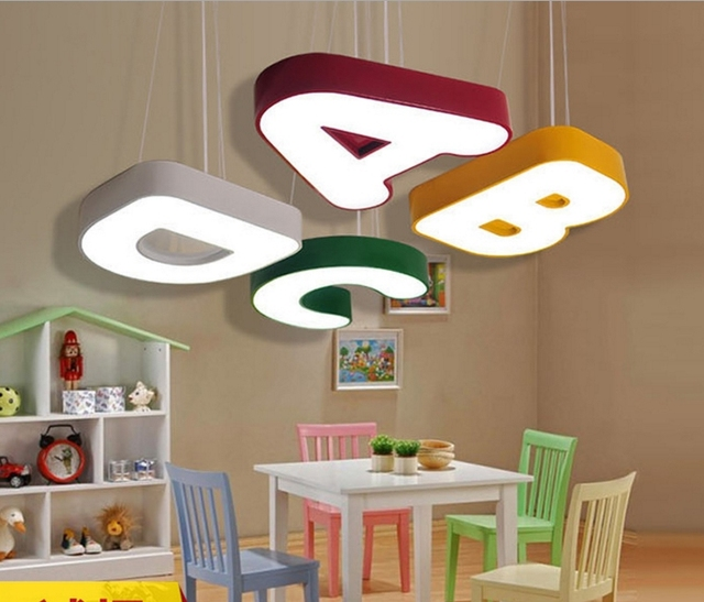 Ceiling lights kids lamp children room lamps bedrooms childrens light classroom led letter kindergarten modern lighting